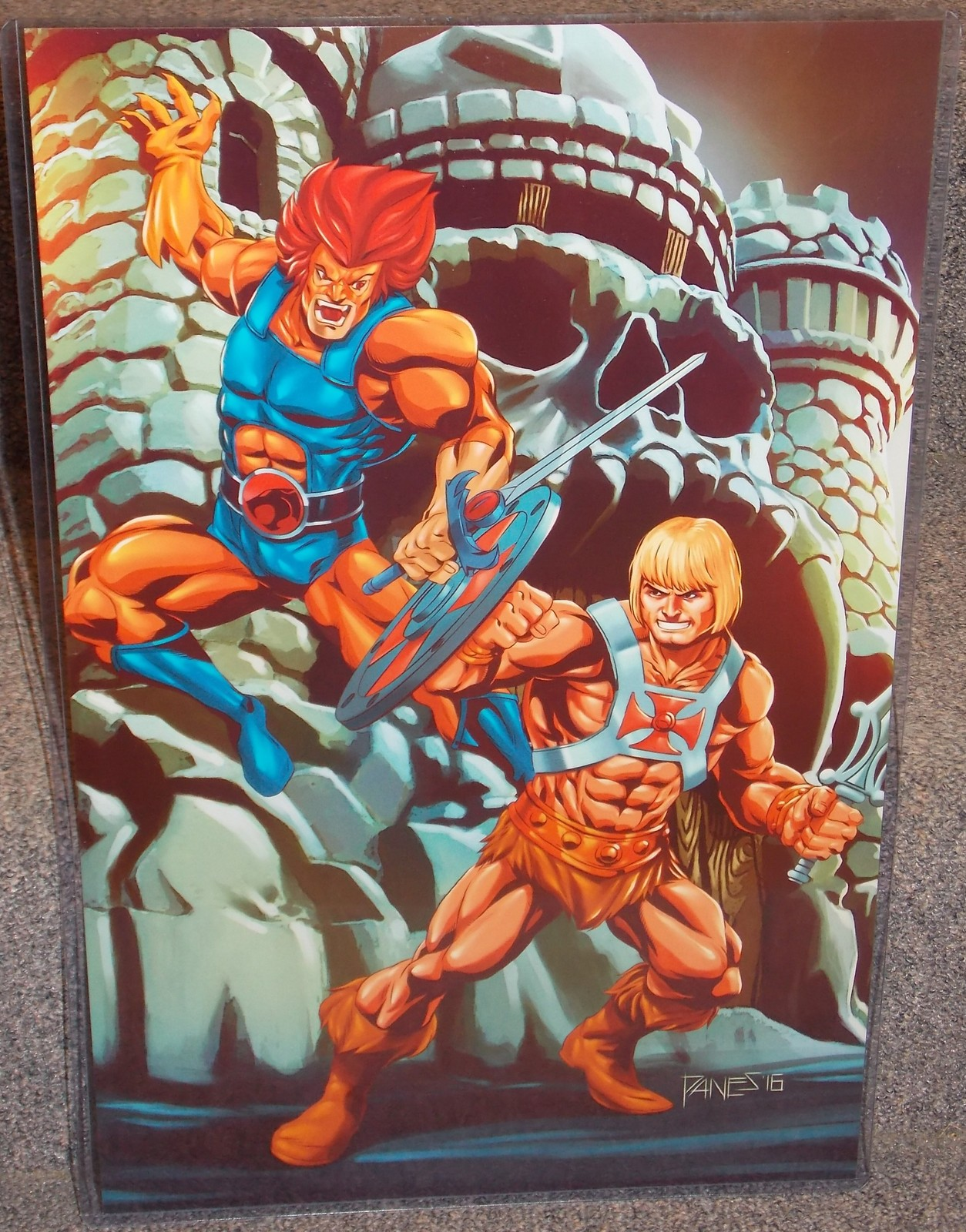 Primary image for He Man vs  Lion O Glossy Print 11 x 17 In Hard Plastic Sleeve