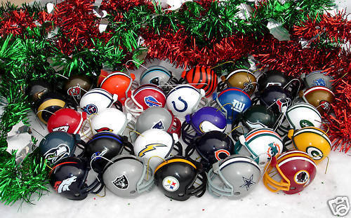 CHRISTMAS ORNAMENTS SET 32 TEAM NFL FOOTBALL HELMETS - HELMETS by RIDDELL!