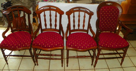 Set of 4 Solid Walnut Carved Dinette Chairs  (DC38) - $999.00