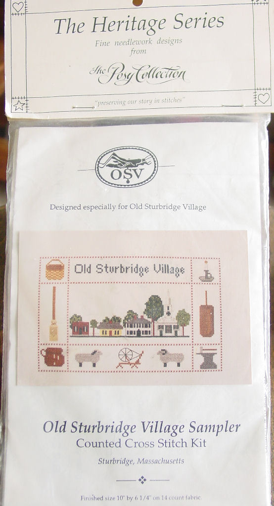 "Counted Cross Stitch Kit ""Old Sturbridge Village Sampler"" 10"" x 6.25"" 14 ct fabr"