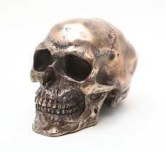 Small Bronze Finishing Skull Head Statue Cold Cast Resin Figurine - £12.52 GBP