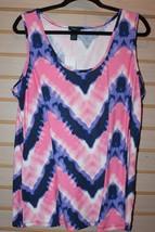 New Womens Plus Size 3 X Pink Tye Dye Chevron Brushed Soft Tank Top Shirt Tyedye - $13.54