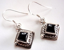 Small Black Onyx Square Earrings Rope Style Acc... - $16.47
