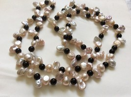 "Cream pink color Keishi Pearl black onyx beads necklace 32"" endless - $84.15"
