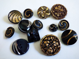 Antique vintage post 1918's black glass buttons... - $34.65