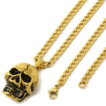 "Stainless Steel Gold Plated Crack Skull Pendant 4mm 24"" Cuban Necklace C... - $19.79"
