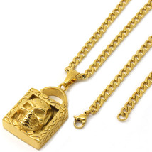 "Stainless Steel Gold Plated Skull Lock Pendant 4mm 24"" Cuban Necklace Chain - $19.79"