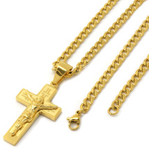 "Stainless Steel Gold Plated Door Jesus Cross Pendant 4mm24"" Cuban Neckla... - $19.79"