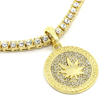 """14k Gold Plated Clear Mariuana Pattern Pendant 20"""" 5mm 1 Row Tennis Neck... - $19.79"""