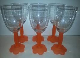 6 Plastic Pool Tangerine Orange Flower 12 oz Wine Glasses Nice Shape Shi... - $18.56