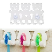 Toothbrush Holder Wall Mounted Suction Cup 5 Position Cute Cartoon Bear ... - $2.60