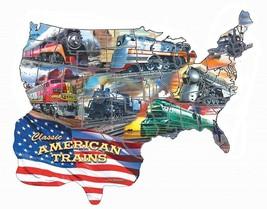 RAILROAD JIGSAW PUZZLE Classic American Trains Boston, NYC,PRR Milwaukee... - $25.73