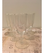Set of Six Clear Cordial Glasses Mid Century Barware Liquor Glasses  - $12.00