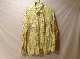 Charter Club Women's 16 Button-Down Shirt 100% Linen Yellow White Floral Print