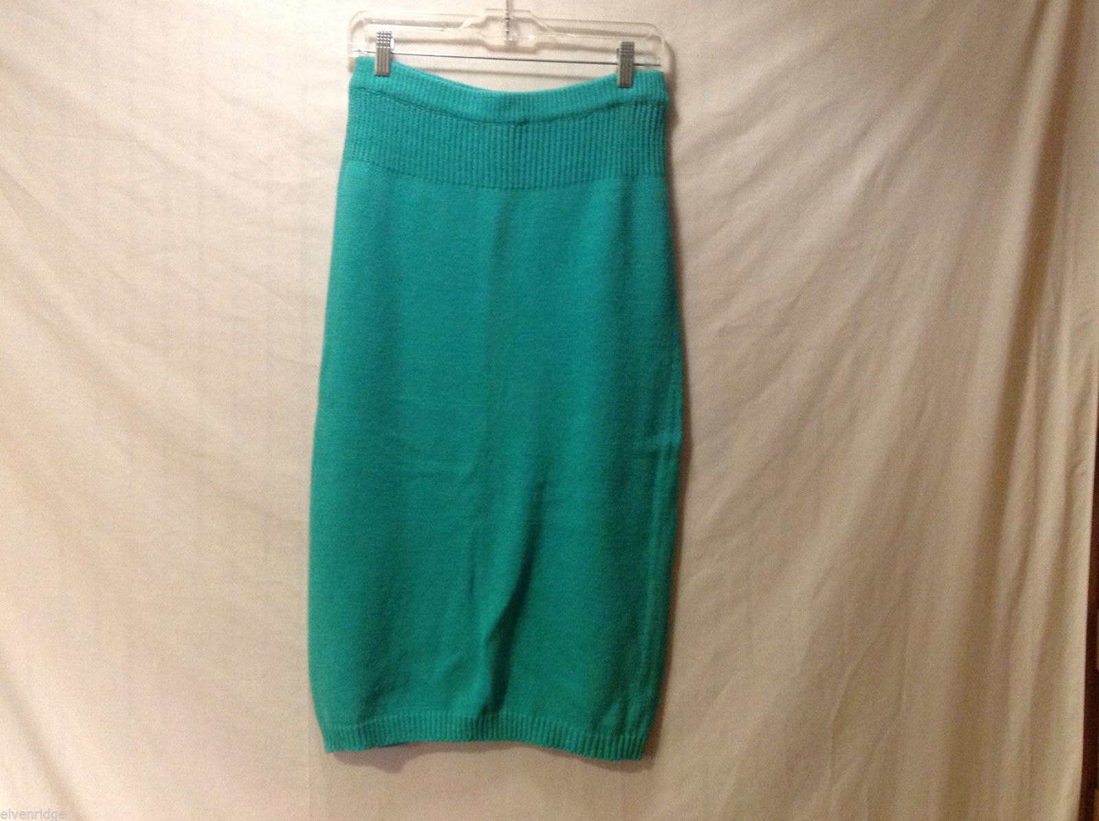 Chaus Women's Size M Pencil Skirt Jade Green Stretchy Knit w/ Ribbed Waist Trim