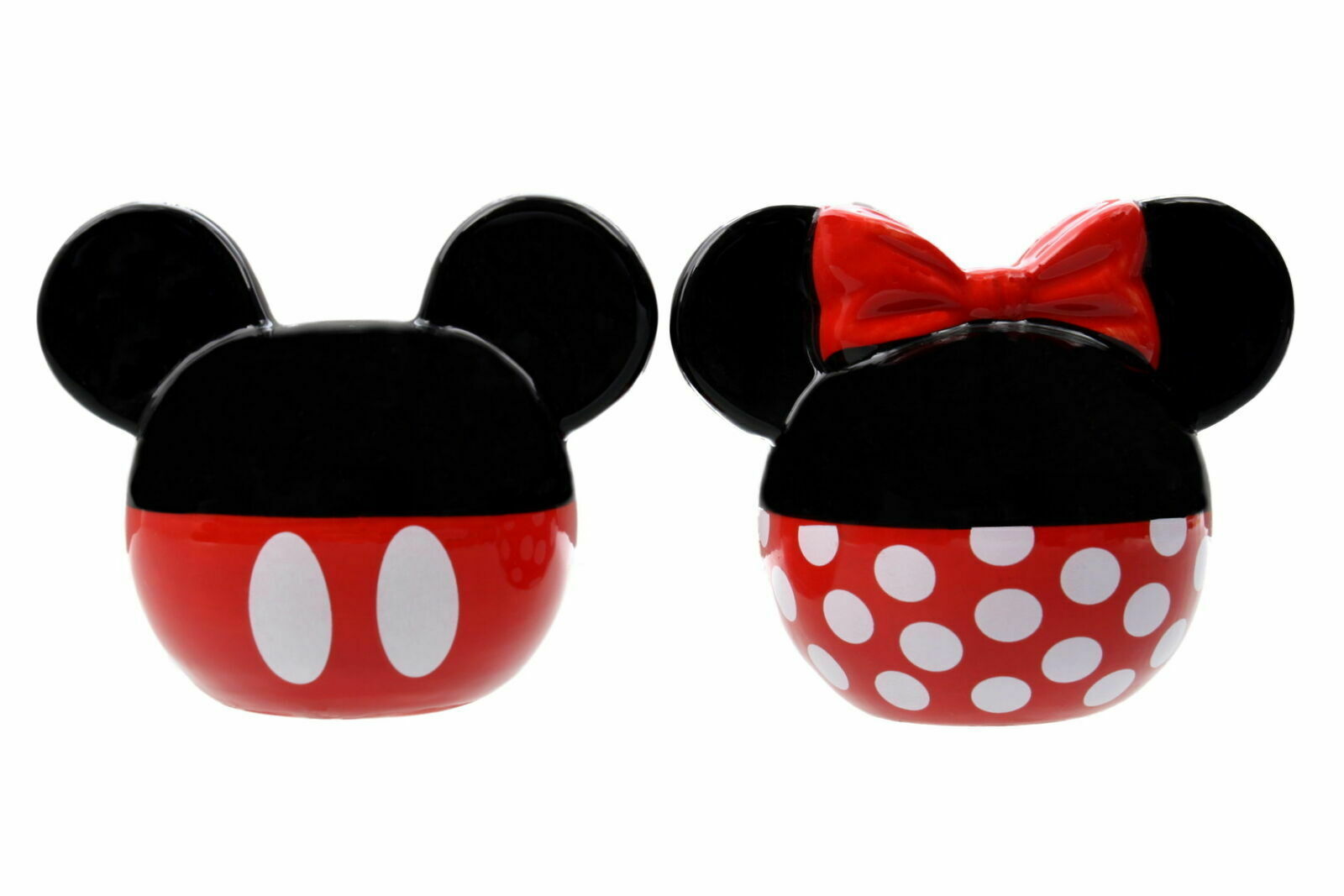 Disney Salt and Pepper Shakers Set Ceramic Minnie and Mickey Mouse - $19.75