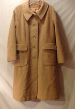 Kezar Women's Size XL Coat Long Tan Brown Genuine Camel Hair Front Flap Pockets