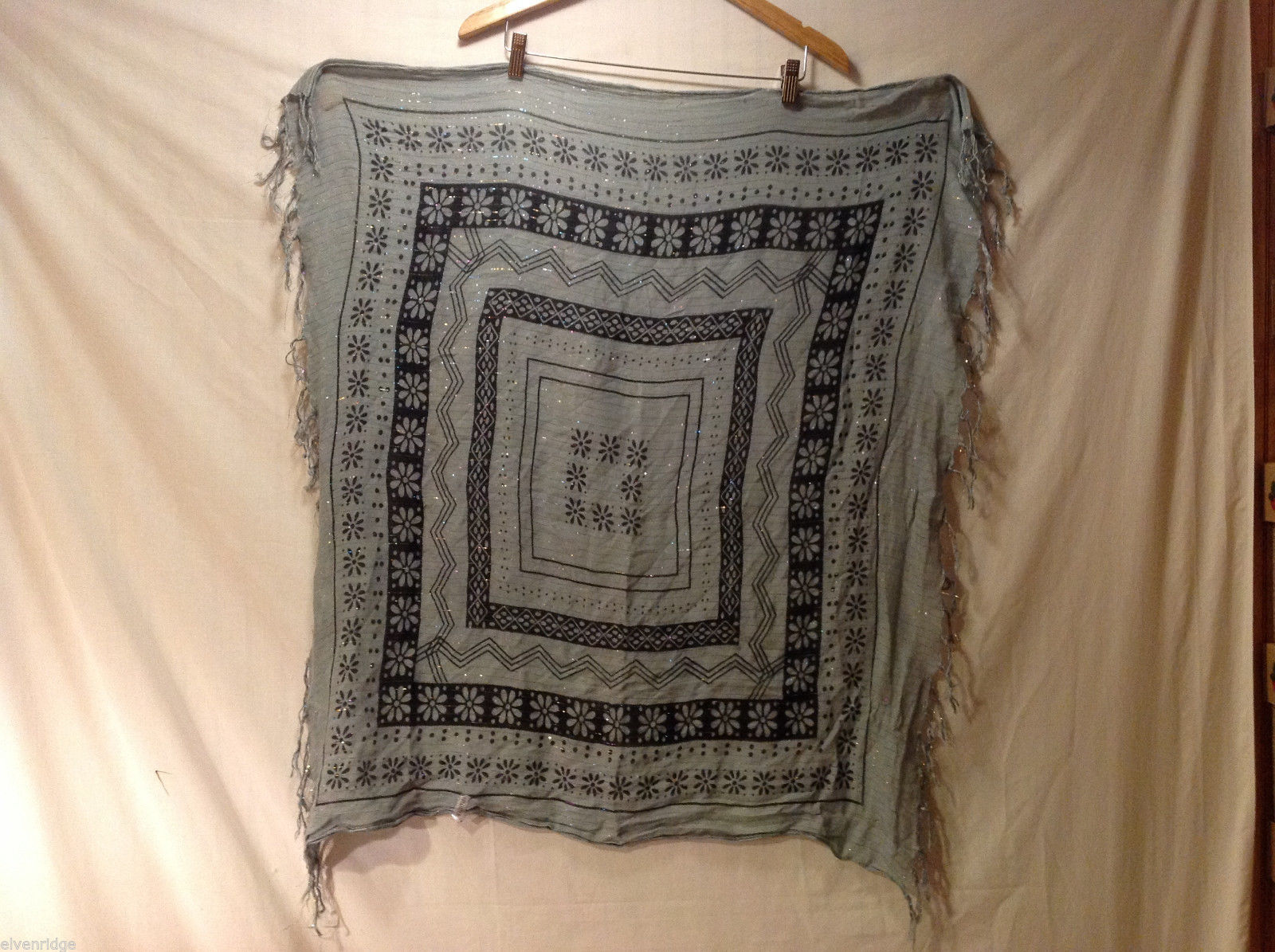 Lightweight Sparkly Light Gray Scarf w/ Fringe & Black Geometric Floral Print