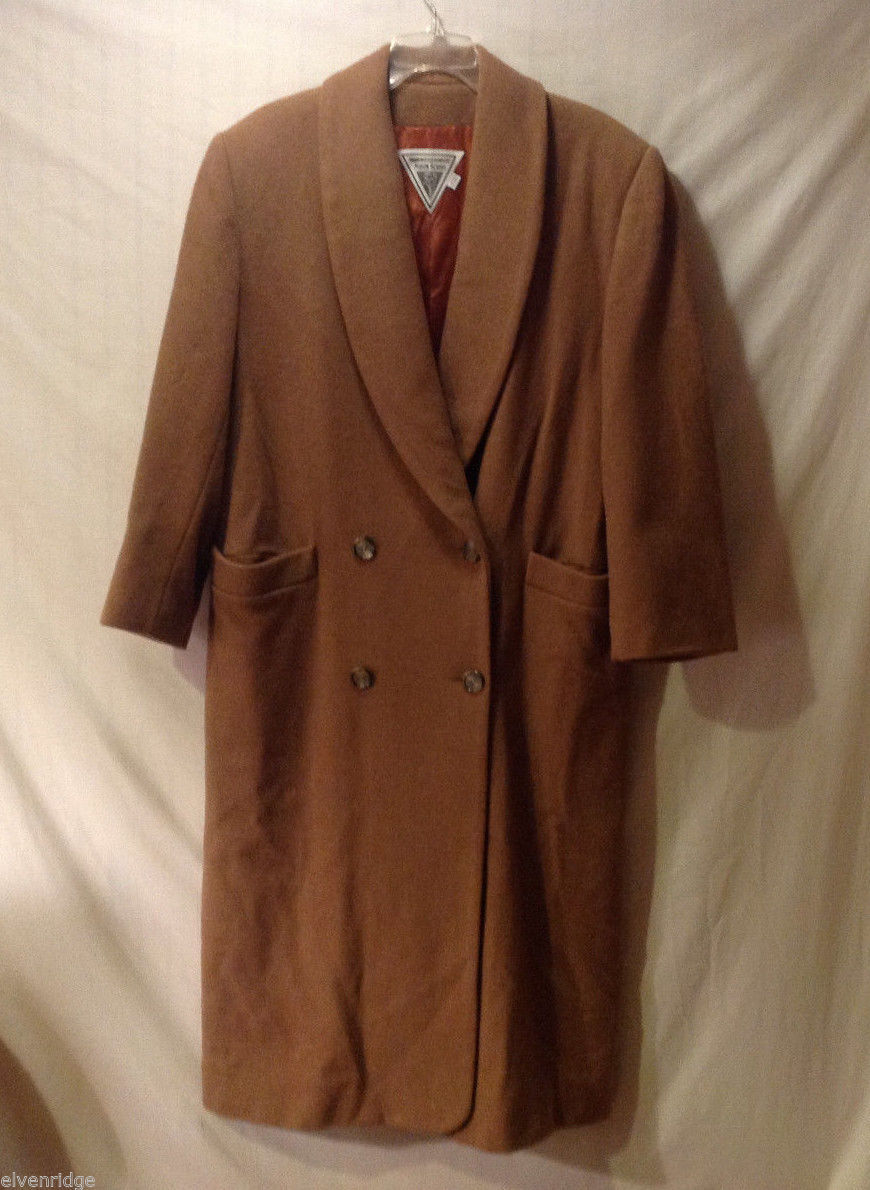 Marvin Richards Men's Size XL+ Long Coat Tan Brown Double-Breasted Shawl Lapel