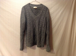 Sonoma Women's Size M Sweater Dark Marled Charcoal Gray Cable-Knit Cotton V-Neck