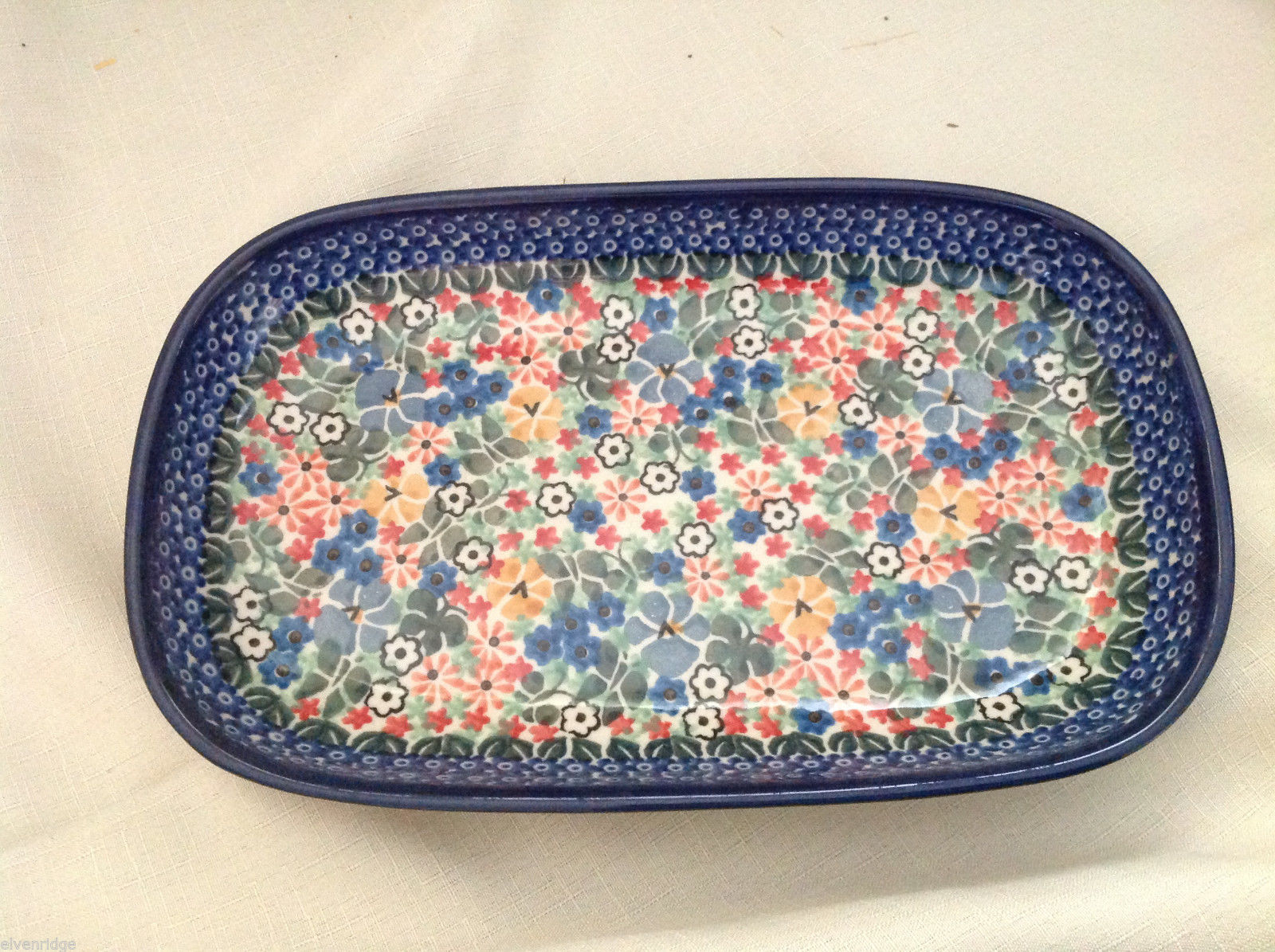 Unikat Polish Stoneware rectangular serving tray  QVC Gorgeous