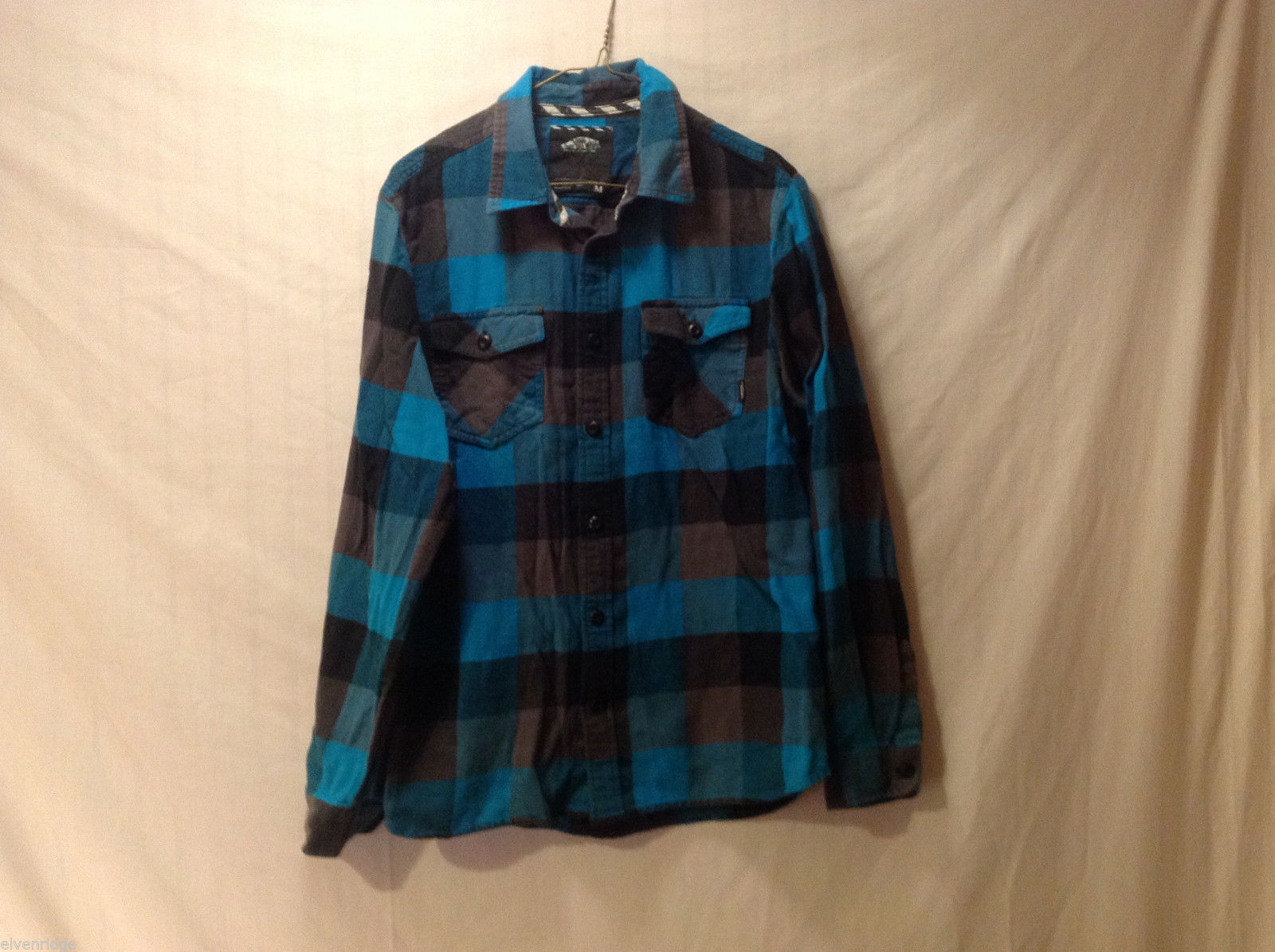 Vans Off The Wall Size M Button-Down Shirt Buffalo Plaid Check Black Brown Blue