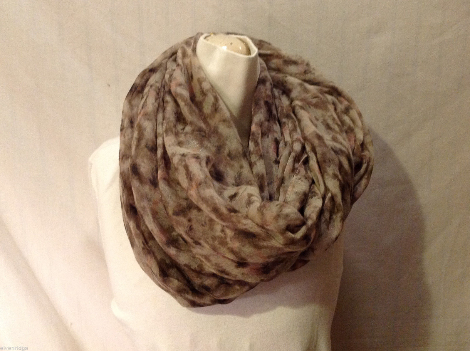 Women's Lightweight Silky-Feel Infinity Scarf Mottled Taupe Tan Brown Pink