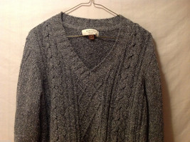 Sonoma Women's Size M Sweater Dark Marled Charcoal Gray Cable-Knit Cotton V-Neck image 2