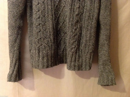 Sonoma Women's Size M Sweater Dark Marled Charcoal Gray Cable-Knit Cotton V-Neck image 3