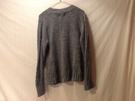 Sonoma Women's Size M Sweater Dark Marled Charcoal Gray Cable-Knit Cotton V-Neck image 5