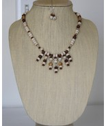 White Turquoise, Jasper, Gemstones & Nutmeg Waterfall Necklacle and Earr... - $46.00