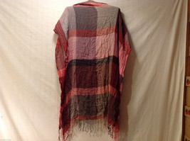 Women's Large Blanket Scarf Buffalo Plaid Check Red Pink Gray w/ Fringe Trim