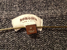 Sonoma Women's Size M Sweater Dark Marled Charcoal Gray Cable-Knit Cotton V-Neck image 6