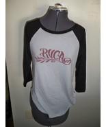 WOMEN'S JRS RVCA BLACK/GRAY SCRIPT LOGO RAGLAN BASEBALL  TEE T SHIRT NEW... - $18.99
