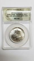 RARE 1975S Token Dan Carr Silver Kennedy Half Dollar Struck on Real Coin MS69 image 1