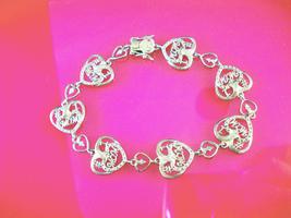 """Vintage Sterling MOM Bracelet Silver hearts gift for mother 7 3/4"""" long ... - $70.00"""