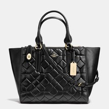 Coach Light Gold/Black Canyon Quilt Leather Zip Closure Crosby Carryall/... - $789.99