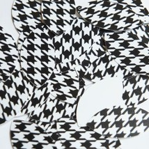 """Navette Leaf Sequin 1.5"""" Black White Houndstooth Pattern Opaque - $14.97"""