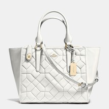 Coach Light Gold/Chalk Canyon Quilt Leather Zip Closure Crosby Carryall/... - $789.99
