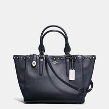 Coach Silver/Navy/Black Zip Closure Floral Rivets Leather Carryall/Handbag - $615.99