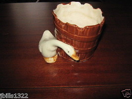 Vintage Collectible Small Duck Goose Flower Planter Bucket Ceramic Japan  - $5.95
