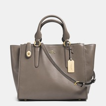 Coach Light Gold/Fog Leather Zip-Top Closure Crosby Carryall/Shoulder/Ha... - $565.99