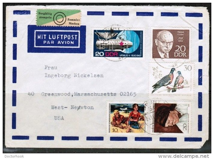 G.D.R. COMMERCIAL AIRMAIL COVER TO WEST NEWTON,MASS. (26/11/1968) (OS-213) - $3.91