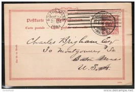 GERMANY 1894 POST CARD from FRANKFURT to BOSTON,MASS. (16/8/94) (OS-212) - $7.87
