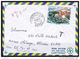 GABON AIRMAIL COVER TO CHICAGO, ILL. USA (25/VII/1972) (OS-200) - $3.91