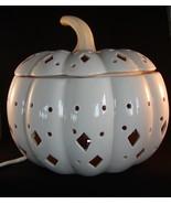 White Ceramic Pierced Pumpkin Light Electric Ex... - $42.00
