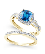 Womens Wedding Gold Finish on 925 Sterling Silver Blue Sapphire Bridal R... - $97.99