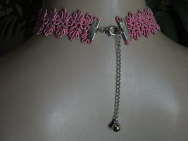 Handmade Choker Necklace Silver Pink Hearts Mothers Day image 2