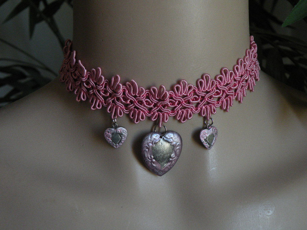 Handmade Choker Necklace Silver Pink Hearts Mothers Day