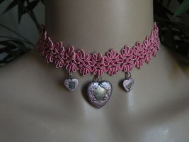 Handmade Choker Necklace Silver Pink Hearts Mothers Day image 1
